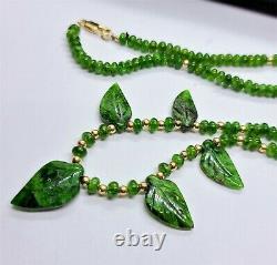 Natural Green Chrome Diopside Carved Leaves & Rondelles 14k Gold Necklace Rare