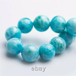 Natural Larimar Blue Dominica Stretch Round Beads Rare Women Bracelet 11mm AAAA