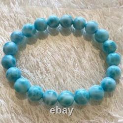Natural Larimar Blue Gemstone Round Beads Women Rare Bracelet Dominica 9mm AAAAA
