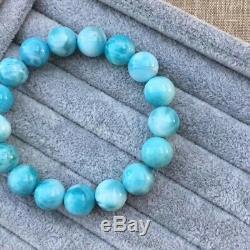Natural Larimar Blue Gemstone Stretch Round Beads Rare Best Bracelet 11.5mm AAAA