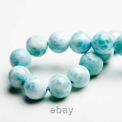 Natural Larimar Blue Gemstone Stretch Round Beads Rare Bracelet 12mm AAAA