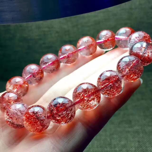 Natural Lepidocrocite Quartz Red Super Seven Beads Rare Bracelet 13mm Aaaa