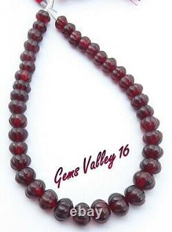 Natural Mozambique Garnet Beads. RARE Melon Shape Carved Gemstone Beads GV-995