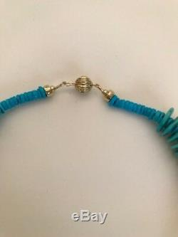 Natural Rare American Turquoise Large Disc Bead Necklace With 14 K Gold Clasp