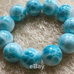 Natural Rare Blue Larimar Gemstone Stretch Beads Bracelet 22mm