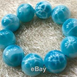 Natural Rare Blue Larimar Gemstone Stretch Beads Bracelet 24mm