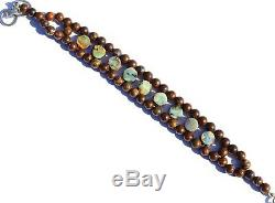 Natural Rare Gem Boulder Australian Opal Coin & Round Beads Bracelet 7 Inch