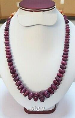 Natural Red Ruby Beads Melon Cut Rare Necklace 17 inches 5 to 23MM Good Quality