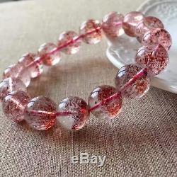 Natural Red Super Seven Lepidocrocite Quartz Beads Rare Bracelet 13mm AAAA