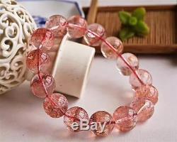 Natural Red Super Seven Lepidocrocite Quartz Beads Rare Bracelet 14.5mm AAAA