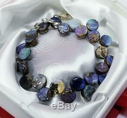 Natural Solid Australian Boulder Opal Sterling Silver Bracelet Rare Gorgeous