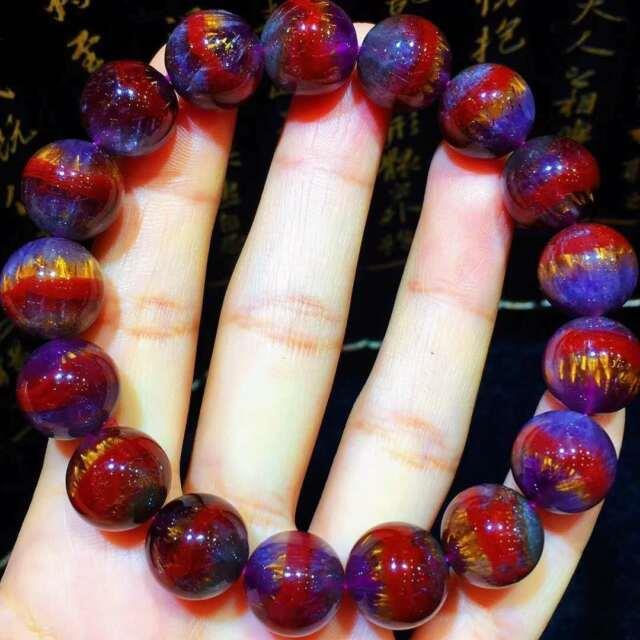 Natural Top Cacoxenite Auralite 23 Gemstone Round Beads Rare Bracelet 12.5mm