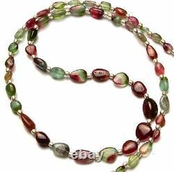 Natural Very Rare Super Quality Gem Bicolor Tourmaline Nugget Beads Necklace 20