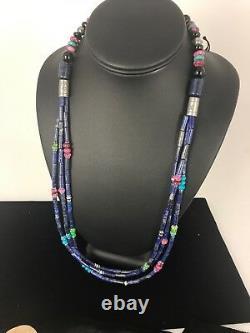 Navajo Sterling Silver Denim Lapis Multi Strand Necklace 22 Gift Rare83