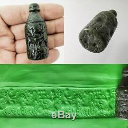 Near Eastern Cylinder Seal Bead Jade Rare Pendant & Stamp Roll Intaglio #411