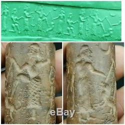 Near Eastern sasanian old King hunting lion rare carved cylinder seal bead