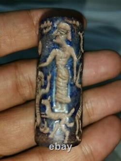 Near Eastern sasanian rare lapiz stone cylinderseal bead
