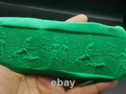 Near Eastern very old rare lion hunting inscription stone cylinderseal bead