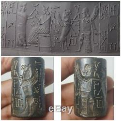 Near eastern Persia old sasania rare stone cylinderseal bead