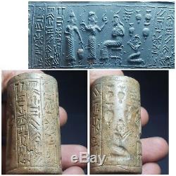 Neareastern sasanian very old rare stone cylinderseal bead