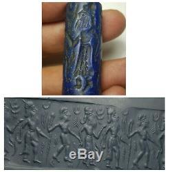 Neareastern sassan old amyzing rare lapiz stone cylinderseal bead