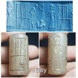 Neareastern sassanian cylinderseal rare old agate stone cylinderseal bead