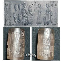 Neareastern the most rare sassan king old crystal stone cylinderseal bead
