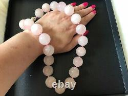 New Genuine Rare Size Rose Quartz Beaded Necklace With Sterling Silver Lock