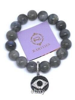 New RARE Rarities Sterling Labradorite Beaded Evil Eye Enhancer Pendant Bracelet