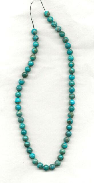 Old Stock Rare Nacozari Turquoise Round Beads 15.5 Strand 1984c