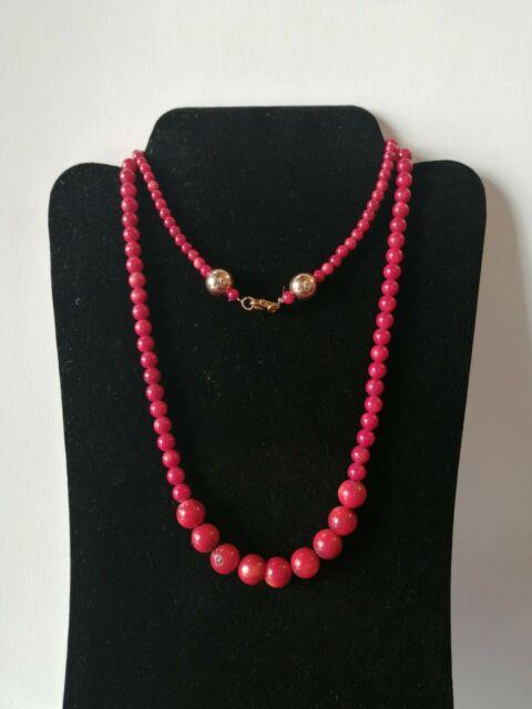Old Antique Rare Natural Red Coral Stone Beads Necklace Women Pendant