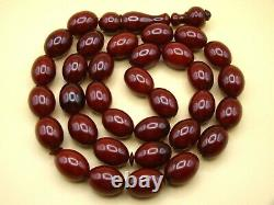 Old Real Antique Rare German Bakelite Amber Necklace Rosary Prayer Beads 124 Gr