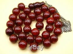 Old Real Antique Rare German Bakelite Amber Necklace Rosary Prayer Beads 185 Gr