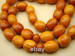 Old Real Antique Rare Natural Amber Necklace / Rosary / Prayer Beads / 69 Grams