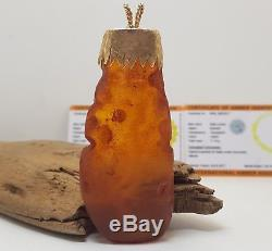 Pendant Stone Amber Natural Baltic Vintage Special 32,4g Cognac Rare Old F-082
