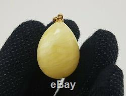 Pendant Stone Amber Natural Baltic White 9,6g Vintage Rare Old Sea Special F-897
