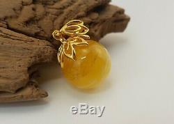 Pendant Stone Amber Natural Baltic White Old Bead 6,1g Rare Special Sea E-195