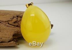 Pendant Stone Natural Amber Baltic 19,6g Egg Yolk Rare Vintage Old White 177