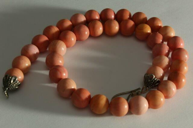 Pretty Vintage100% Natural Carved Coral Authentic Genuine Necklace Beads Rare