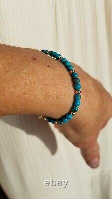 RARE 14k Solid Gold 4mm GENUINE Blue Kingman TURQUOISE Bracelet usa men skinny