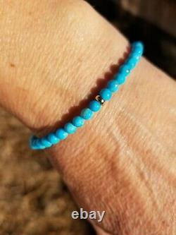 RARE 14k Solid YWR Gold GF or Sterling SLEEPING BEAUTY Blue TURQUOISE Bracelet