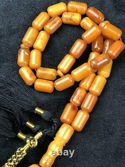 RARE ANTIQUE STONE Natural Baltic Amber Prayer Beads 52g
