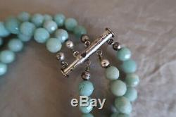 RARE Ancient Echos Vintage Carved Amazonite Sterling Silver Beaded Rose Necklace
