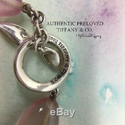 RARE Authentic Tiffany & Co Rose Quartz Peridot Twist Toggle Bracelet Silver