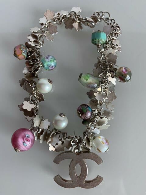 Rare! Chanel Bracelet Transparent Molten Glass Beads & Stones & Silver Cc 2008