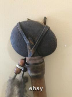 RARE Crow Native American Beaded Leather Wrapped Stone Axe Tomahawk