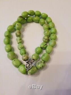 RARE GASPEITE Necklace Gemstone Bead. 5 Apple Green 20 L Sterling Silver 925