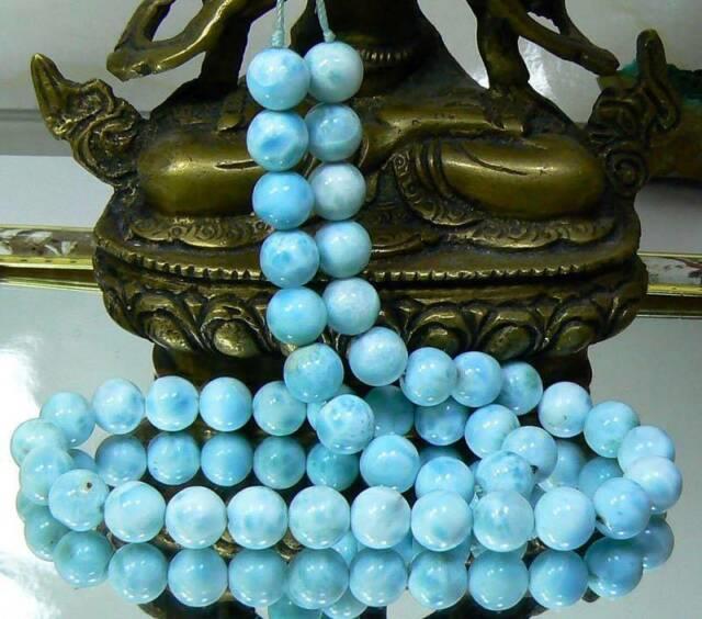 Rare Gem Grade Round Natural Untreated Caribbean Blue Larimar Beads 9mm 15.5