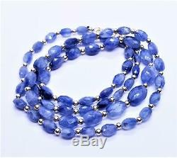 RARE GENUINE NATURAL BLUE FACETED SAPPHIRE OVAL BEADs 14K GOLD NECKLACE 23