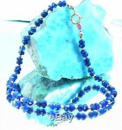 RARE GENUINE NATURAL BLUE GEM GRADE FACETED SAPPHIRE BEADs 14K GOLD BRACELET